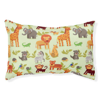 Pattern With Cartoon Animals Pet Bed