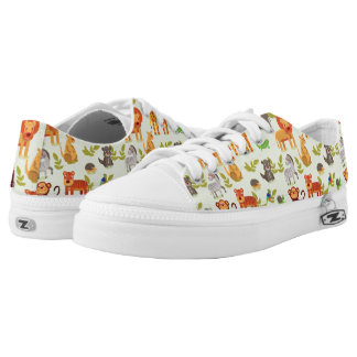 Pattern With Cartoon Animals Printed Shoes