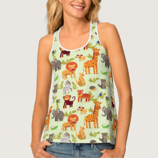 Pattern With Cartoon Animals Tank Top