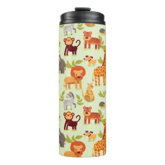 Pattern With Cartoon Animals Thermal Tumbler