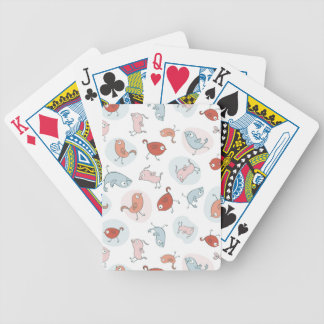 pattern with cartoon birds bicycle playing cards