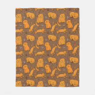 Pattern With Cats Fleece Blanket