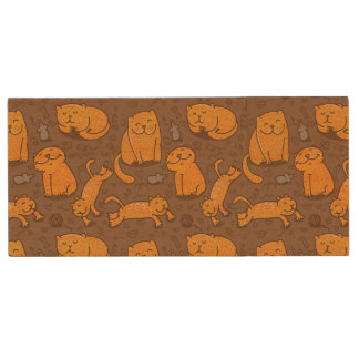 Pattern With Cats Wood USB 2.0 Flash Drive