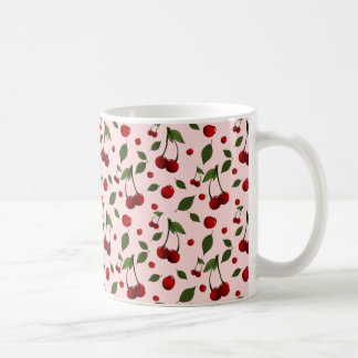 Pattern with cherries and leaves placed randomly coffee mug
