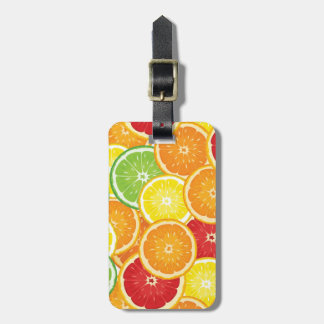 Pattern with citrus fruits luggage tag