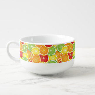 Pattern with citrus fruits soup mug