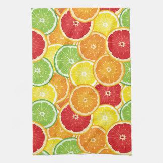 Pattern with citrus fruits tea towel