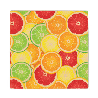 Pattern with citrus fruits wood coaster