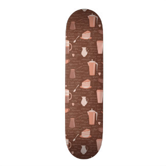 Pattern with coffee related elements 18.1 cm old school skateboard deck