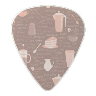 Pattern with coffee related elements acetal guitar pick