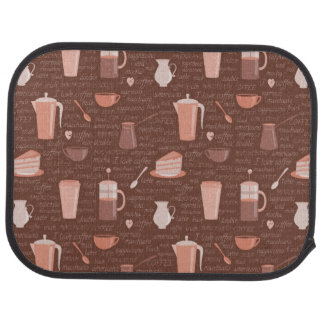 Pattern with coffee related elements car mat