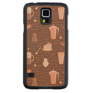 Pattern with coffee related elements carved maple galaxy s5 case