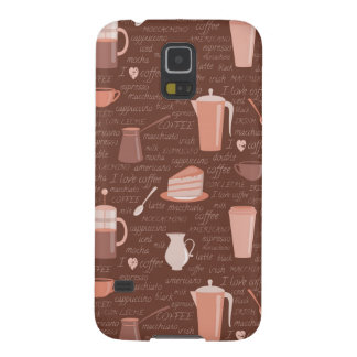 Pattern with coffee related elements cases for galaxy s5