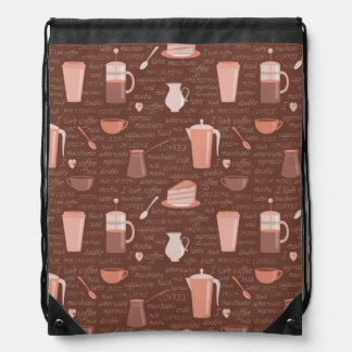 Pattern with coffee related elements drawstring bag