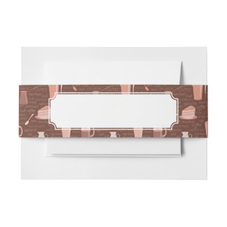 Pattern with coffee related elements invitation belly band