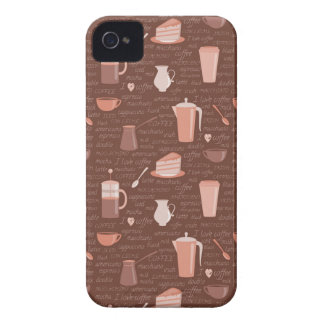 Pattern with coffee related elements iPhone 4 Case-Mate cases