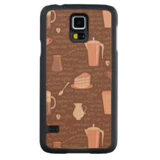 Pattern with coffee related elements maple galaxy s5 slim case