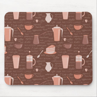 Pattern with coffee related elements mouse mat