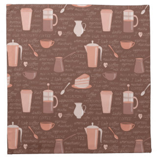 Pattern with coffee related elements napkin