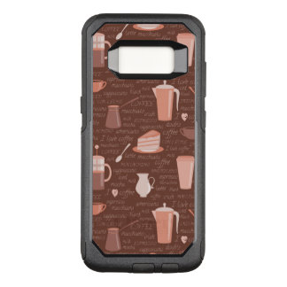Pattern with coffee related elements OtterBox commuter samsung galaxy s8 case