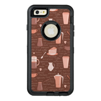 Pattern with coffee related elements OtterBox defender iPhone case