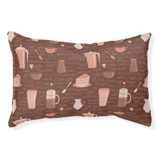 Pattern with coffee related elements pet bed