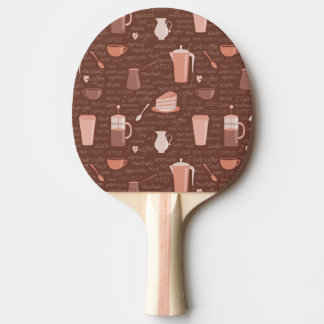 Pattern with coffee related elements ping pong paddle