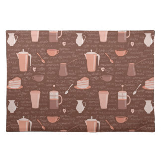 Pattern with coffee related elements placemat