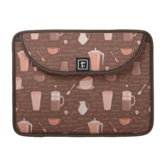 Pattern with coffee related elements sleeve for MacBook pro