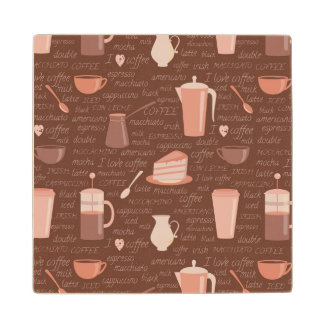 Pattern with coffee related elements wood coaster
