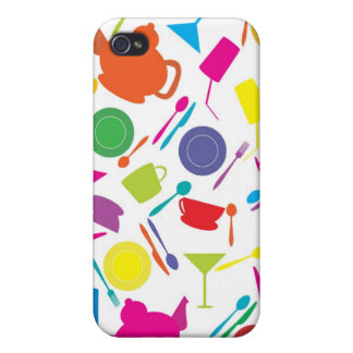 Pattern With Colored Kitchen Stuff Case For iPhone 4