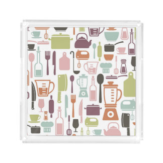 Pattern with colorful cooking icons