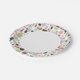 Pattern with colorful cooking icons 7 inch paper plate