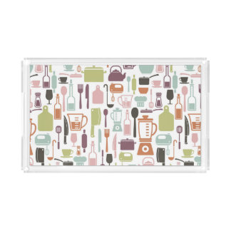 Pattern with colorful cooking icons acrylic tray