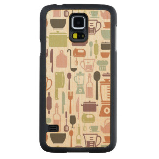 Pattern with colorful cooking icons carved maple galaxy s5 case