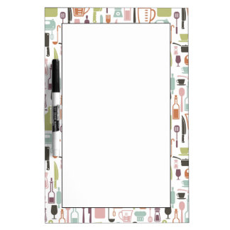 Pattern with colorful cooking icons dry erase board