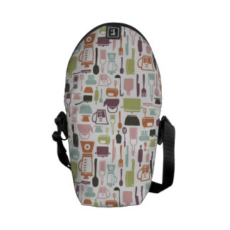 Pattern with colorful cooking icons messenger bags