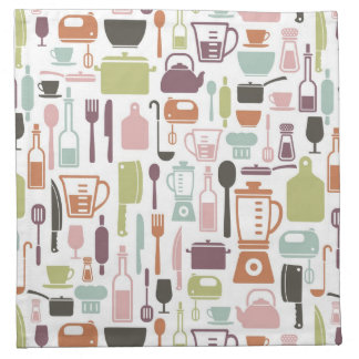 Pattern with colorful cooking icons napkin