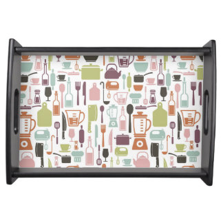 Pattern with colorful cooking icons serving tray