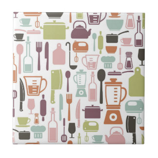 Pattern with colorful cooking icons small square tile