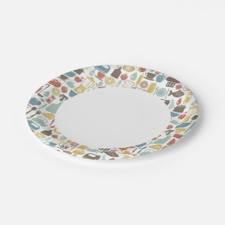 Pattern with cooking icons 7 inch paper plate