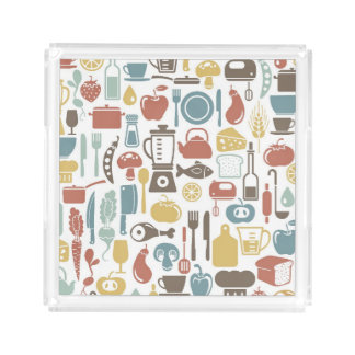 Pattern with cooking icons acrylic tray