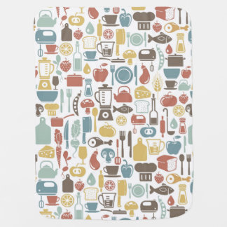 Pattern with cooking icons baby blankets
