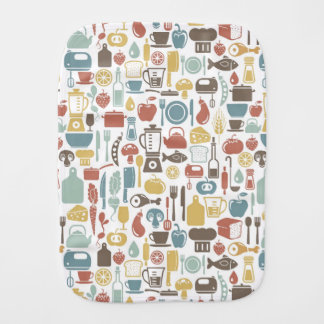 Pattern with cooking icons baby burp cloth