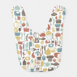Pattern with cooking icons bib