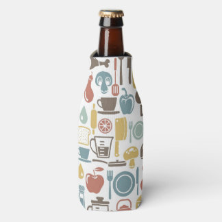 Pattern with cooking icons bottle cooler