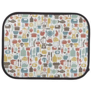 Pattern with cooking icons car mat