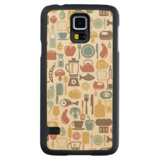 Pattern with cooking icons carved maple galaxy s5 case