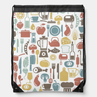 Pattern with cooking icons drawstring bag