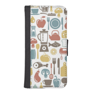 Pattern with cooking icons iPhone SE/5/5s wallet case